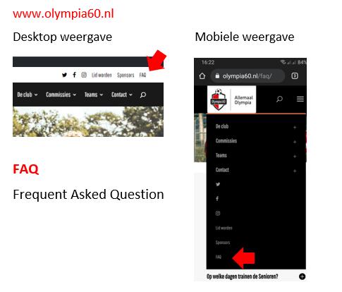 Nieuw: FAQ op de website